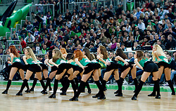 Cheerleaders Dragon Ladies perform during basketball match between KK Union Olimpija (SLO) and Lottomatica Roma (ITA) in Group F of Top 16 Turkish Airlines Euroleague, on February 23, 2011 in Arena Stozice, Ljubljana, Slovenia. Lottomatica defeated 87-76. (Photo By Vid Ponikvar / Sportida.com)