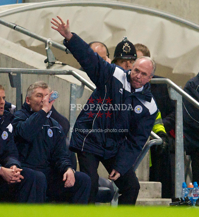 MANCHESTER, ENGLAND - Tuesday, January 18, 2011: Leicester City's manager Sven-Goran Eriksson waves to the supporters during the FA Cup 3rd Round Replay match against Manchester City at the City of Manchester Stadium. (Photo by David Rawcliffe/Propaganda)