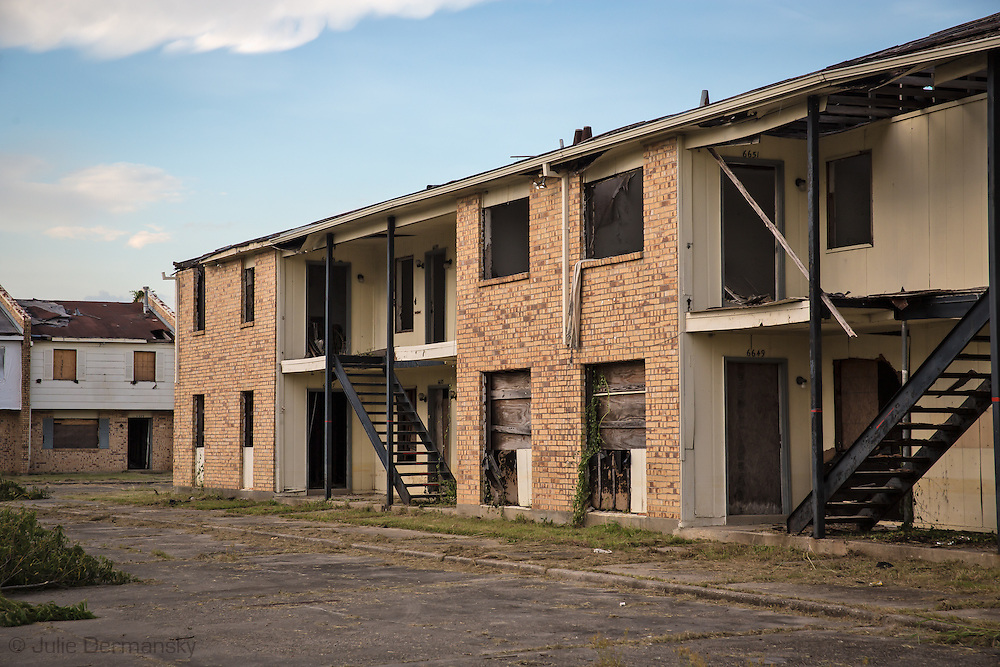 July 17, Eastern New Orleans, Blighted housing project destroyed by Hurricane Katrina in 2005.