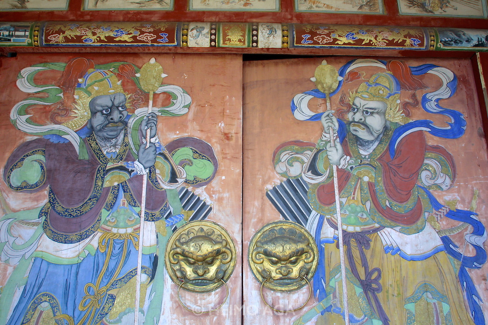 ULAN BATOR, MONGOLIA..08/21/2001.Painted doors at the ancient winter palace of the Bogds, the spiritual and political leaders of the late Mongol empire up to the socialist revolution in 1921..(Photo by Heimo Aga)