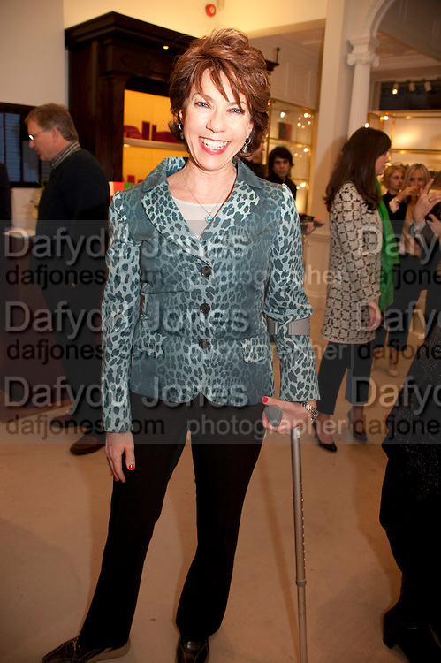 KATHY LETTE, Smythson Royal Wedding exhibition preview. Smythson together with Janice Blackburn has commisioned 5 artist designers to create their own interpretations of  Royal wedding memorabilia. Smythson. New Bond St. London. 5 April 2011.  -DO NOT ARCHIVE-© Copyright Photograph by Dafydd Jones. 248 Clapham Rd. London SW9 0PZ. Tel 0207 820 0771. www.dafjones.com.