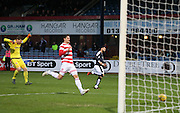 Hamilton&rsquo;s Michael McGovern and Hamilton&rsquo;s Jamie Sendles-White race back in vain as Dundee&rsquo;s Kane Hemmings rolls the ball home for the opening goal of his hat-trick - Dundee v Hamilton, Ladbrokes Premiership at Dens Park<br /> <br />  - &copy; David Young - www.davidyoungphoto.co.uk - email: davidyoungphoto@gmail.com