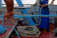 Anzio, Italy 25/06/2008: battuta di pesca con il peschereccio Stella d'Argento.