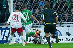 27.11.2011, Weser Stadion, Bremen, GER, 1.FBL, Werder Bremen vs VFB Stuttgart, im BildMarkus Rosenberg (Bremen #11) vergibt in der 15.min das 1 zu 0 gegen Sven Ulreich (Stuttgart #1) li Khalid Boulahrouz (Stuttgart #21) . // during the Match GER, 1.FBL, Werder Bremen vs VFB Stuttgart, Weser Stadion, Bremen, Germany, on 2011/11/27.EXPA Pictures © 2011, PhotoCredit: EXPA/ nph/ Kokenge..***** ATTENTION - OUT OF GER, CRO *****