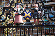Seventeenth century boy and girl figures outside  Weeshuis orphanage, Enkhuizen, Netherlands