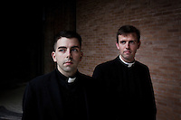 ROME, ITALY - 6 MARCH 2013: (L-R) Seminarians Jonathan Ficara, 26 years old from Moodus, CT, and John Wilson, 27 years old from Manhattan, NY, pose for a portrait by the chapel of the Pontifical North American College in Rome, Italy, on March 6, 2013. Jonathan Ficara is attending his 3rd year of studies at the Pontifical North American College, while John Wilson is attending the 1st year of theology...The Pontifical North American College is a Roman Catholic educational institution that forms seminarians for priestly ministry in the dioceses in the United States and that provides a residence for American priests pursuing graduate studies...Gianni Cipriano for The New York Times10139468AROME, ITALY - MARCH 10: U.S. Cardinal Timothy Dolan of New York City arrives at the Our Lady of Guadalupe church in the Monte Mario district where he is the titular head to give a Sunday Mass, in Rome, Italy, on March 10, 2013. Cardinals are set to enter the conclave to elect a successor to Pope Benedict XVI after he became the first pope in 600 years to resign from the role. The conclave is scheduled to start on March 12 inside the Sistine Chapel and will be attended by 115 cardinals as they vote to select the 266th Pope of the Catholic Church...Gianni Cipriano for The New York Times
