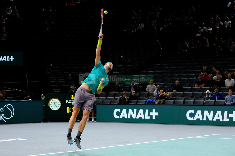 October 30, 2017 - Paris, France - The US player STEVE JOHNSON returns the ball to Dutch player ROBIN HAASE during the tournament Rolex Paris Master at Paris AccorHotel Arena Stadium in Paris France.Robin Haase won 6-2 6-1 (Credit Image: © Pierre Stevenin via ZUMA Wire)