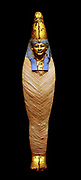 Coffin and Mummy of Irti-Rutja, Ptolemaic Period, 305-30 BC.  Said to be from Akhmim.  Painted, gessoed and gilded wood; linen; painted and gilded cartonnage.