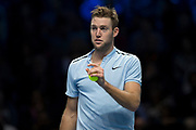 Jack Sock of the United States disputing a line call during the ATP World Tour Finals at the O2 Arena, London, United Kingdom on 12 November 2017. Photo by Martin Cole.