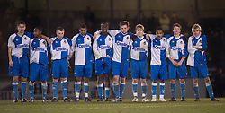 BRISTOL, ENGLAND - Thursday, January 15, 2009: Bristol Rovers' players stand to watch the penalty shoot-out against Liverpool during the FA Youth Cup match at the Memorial Stadium. L-R: Dan Cayford, Nabi Diallo, Brian Bowles, Neikell Plummer, Nelson Monhon, James Tyrrell, Eliot Richards, Reeko Best, Ollie Clarke, Mark Cooper. (Mandatory credit: David Rawcliffe/Propaganda)