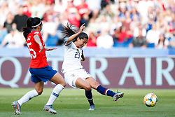 2019?6?17?.   ???????????——F??????????.    6?16????????????????????  .   ?????????????????2019??????????F??????????3?0??????.   ?????????..SP-FRANCE-PARIS-FIFA WOMEN'S WORLD CUP-GROUP F-USA-CHILE.(1906017) -- PARIS, June 17, 2019  Christen Press (R) of the United States shoots during the Group F match between the United States and Chile at the 2019 FIFA Women's World Cup in Parc des Princes in Paris, France, June 16, 2019.  The United States won 3-0. (Credit Image: © Xinhua via ZUMA Wire)