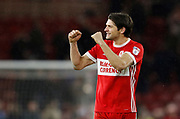 George Friend of Middlesbrough  applauds the fans at full time during the EFL Sky Bet Championship match between Middlesbrough and Leeds United at the Riverside Stadium, Middlesbrough, England on 2 March 2018. Picture by Paul Thompson.