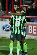 AFC Wimbledon celebrate after Lyle Taylor of AFC Wimbledon scores during the Sky Bet League 2 match between Accrington Stanley and AFC Wimbledon at the Fraser Eagle Stadium, Accrington, England on 20 October 2015. Photo by Stuart Butcher.