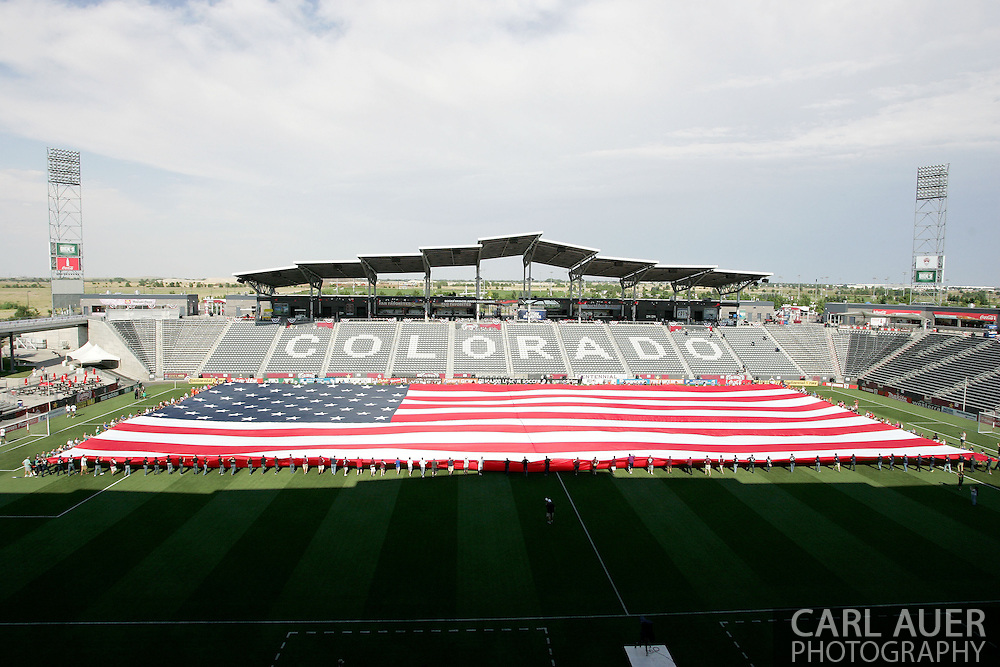 July 7th, 2013 - A giant US Flag is displayed on the pitch prior to the start of action in the Major League Soccer match between D.C. United and the Colorado Rapids at Dick's Sporting Goods Park in Commerce City, CO