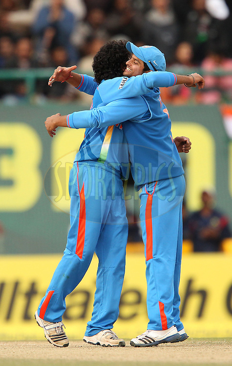 Ravindra Jadeja of India celebrates the wicket of Joe Root of England with Suresh Raina of India during the 5th Airtel ODI between India and England held at the HPCA Stadium in Dharamsala, Himachal Pradesh, India on the 27th January 2013..Photo by Ron Gaunt/BCCI/SPORTZPICS ..Use of this image is subject to the terms and conditions as outlined by the BCCI. These terms can be found by following this link:..http://www.sportzpics.co.za/image/I0000SoRagM2cIEc