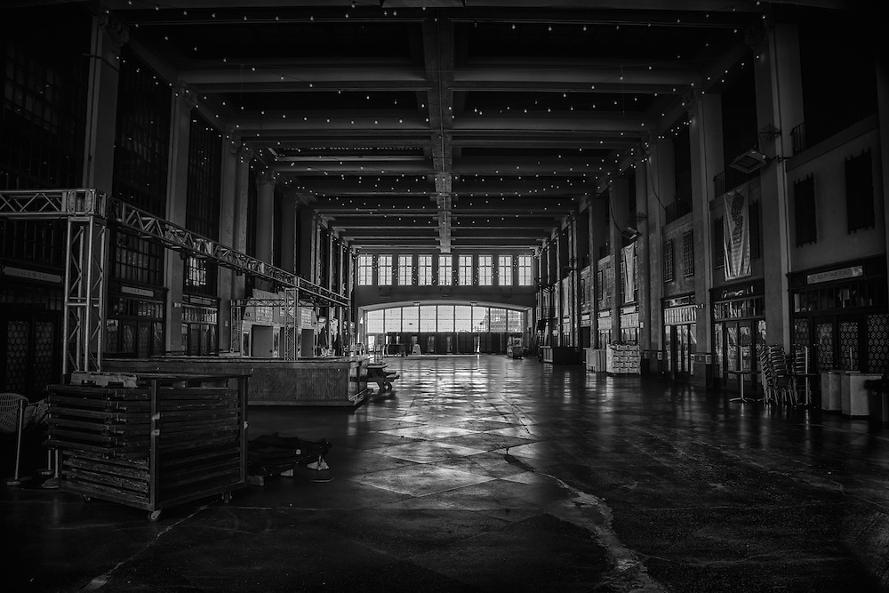 Photographer Dan Komoda's black and white image of Convention Hall in Asbury Park, New Jersey.