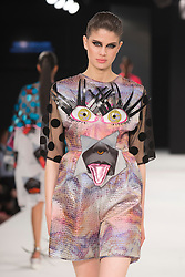 """© Licensed to London News Pictures. 02/06/2015. London, UK. Collection by Niamh Maguire, Manchester School of Art. Runway show """"Best of Graduate Fashion Week 2015"""". Graduate Fashion Week takes place from 30 May to 2 June 2015 at the Old Truman Brewery, Brick Lane. Photo credit : Bettina Strenske/LNP"""