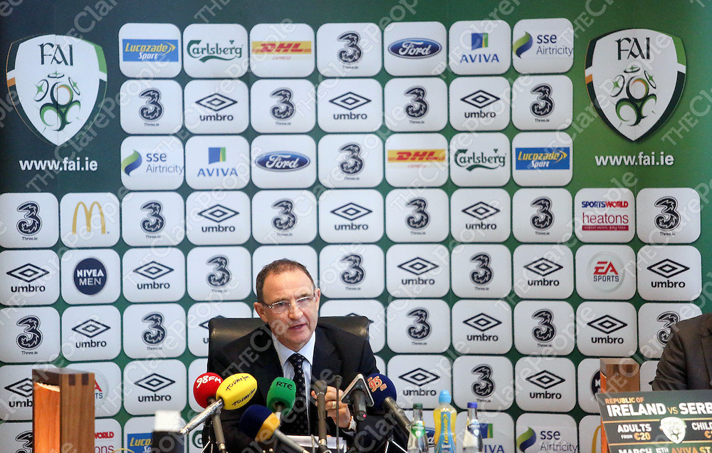 Irish Soccer Boss Martin O Neill pictured at the Press Conference at Limericks County Hall, Dooradoyle in Limerick City, as he announced his squad for the upcoming friendly game versus Serbia, in the presence of the Mayor and the Limerick County Council and the County Manager.<br /> Pic. Brian Arthur/ Press 22.