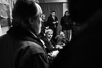 """ROME, ITALY - 24 JANUARY 2013: Nichi Vendola (center), leader of the """"Left Ecology Freedom"""" list of the center-left coalition gives a press conference together with members of the center-left coalition Pierluigi Bersani (PD - Democratic Party, leader running for Prime Minister) and Bruno Tabacci (Democratic Center) in Rome at the Ripetta Residence in Rome, on January 24, 2013. Pierluigi Bersani, running for Prime Minister in the 2013 elections in Italy, said he wouldn't dump his ally Nichi Vendola for former PM Mario Monti.  A general election to determine the 630 members of the Chamber of Deputies and the 315 elective members of the Senate, the two houses of the Italian parliament, will take place on 24–25 February 2013. The main candidates running for Prime Minister are Pierluigi Bersani (leader of the centre-left coalition """"Italy. Common Good""""), former PM Mario Monti (leader of the centrist coalition """"With Monti for Italy"""") and former PM Silvio Berlusconi (leader of the centre-right coalition). ### ROMA, ITALIA - 24 GENNAIO 2013: Nichi Vendola (centro), leader della lista """"Sinistra Ecologia Libertà"""" presiede una conferenza stampa insieme ai membri della coalizione di centro-sinistra Pierluigi Bersani (PD - Partito Democratico, leader candidate alla Presidenza del Consiglio) e Bruno Tabacci (Centro Democratico) al Residence Ripetta a Roma, il 24 gennaio 2013. Le elezioni politiche italiane del 2013 per il rinnovo dei due rami del Parlamento italiano – la Camera dei deputati e il Senato della Repubblica – si terranno domenica 24 e lunedì 25 febbraio 2013 a seguito dello scioglimento anticipato delle Camere avvenuto il 22 dicembre 2012, quattro mesi prima della conclusione naturale della XVI Legislatura. I principali candidate per la Presidenza del Consiglio soon Pierluigi Bersani (leader della coalizione di centro-sinistra """"Italia. Bene Comune""""), il premier uscente Mario Monti (leader della coalizione di centro """"Con Monti per l'Italia"""") e l'ex-premier Silvi"""