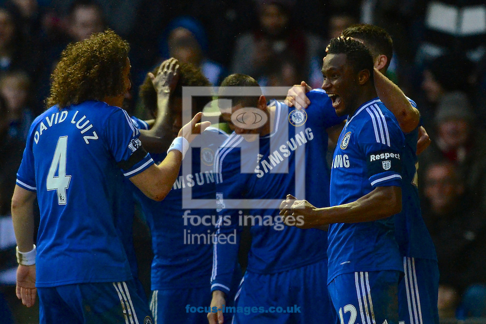 Picture by Ian Wadkins/Focus Images Ltd +44 7877 568959<br /> 05/01/2014<br /> Mikel John Obi of Chelsea celebrates after scoring to make it 1-0 during the The FA Cup match at the Ipro Stadium, Derby.