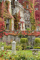 Hatley Castle displays its ivy tendrils and beautiful surrounding gardens, rich in autumn color.  Victoria, Vancouver Island, British Columbia, Canada.