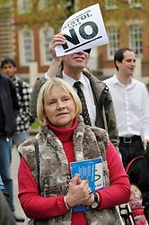 © Licensed to London News Pictures. 13/04/2012. Bristol, UK. Audience at an open air debate whether Bristol should have an elected mayor at a speakers corner debate at College Green in front of Bristol's Council House..Photo credit : Simon Chapman/LNP
