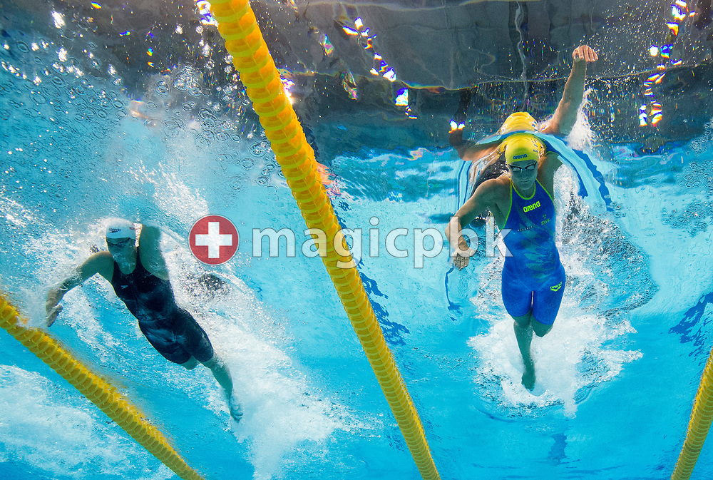 Sarah SJOSTROM (SJOESTROEM) (R) of Sweden and Penny Oleksiak of Canada compete in the women's 100m Freestyle Heats during the swimming events of the 17th Fina World Championships held at the Duna Arena in Budapest, Hungary, Thursday, July 27, 2017. (Photo by Patrick B. Kraemer / MAGICPBK)
