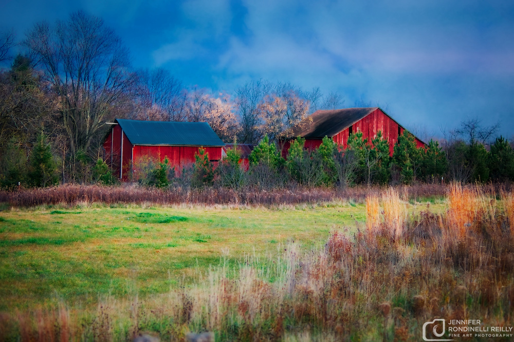 Red barn in field at Retzer Nature Center in Waukesha,WI.