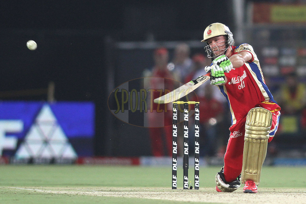 AB de Villiers of the Royal Challengers Bangalore hits a delivery over cover for six during match 30 of the the Indian Premier League (IPL) 2012  between The Rajasthan Royals and the Royal Challengers Bangalore held at the Sawai Mansingh Stadium in Jaipur on the 23rd April 2012..Photo by Shaun Roy/IPL/SPORTZPICS