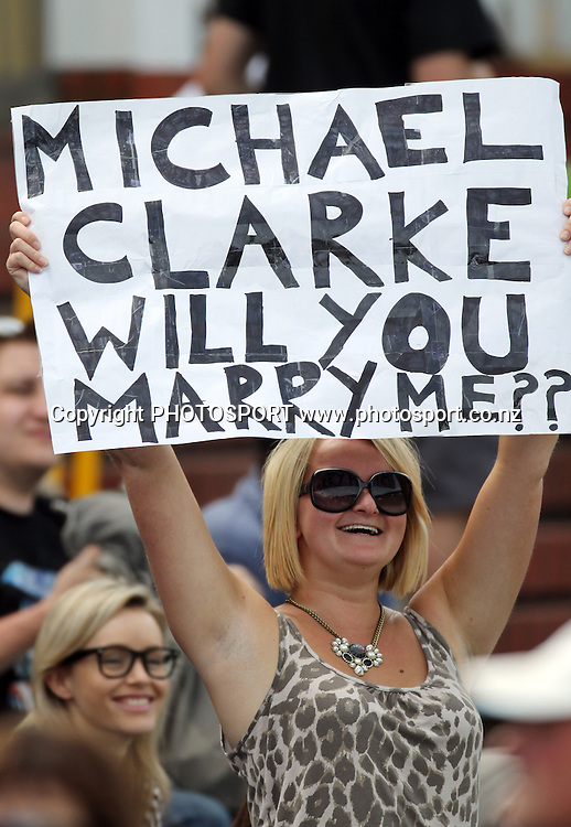 A Michael Clarke cricket fan asks the question  &quot;will you marry me?&quot;<br />Test Match Cricket. 1st test. Day 3.<br />New Zealand Black Caps versus Australia. Basin Reserve, Wellington, New Zealand. Sunday 21 March 2010. Photo: Andrew Cornaga/PHOTOSPORT