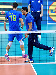 Coach Andrea Giani, Klemen Cebulj #18 during volleyball match between National teams of Poland and Slovenia in Quarterfinals of 2015 CEV Volleyball European Championship - Men, on October 14, 2015 in Arena Armeec, Sofia, Bulgaria. Photo by Ronald Hoogendoorn / Sportida