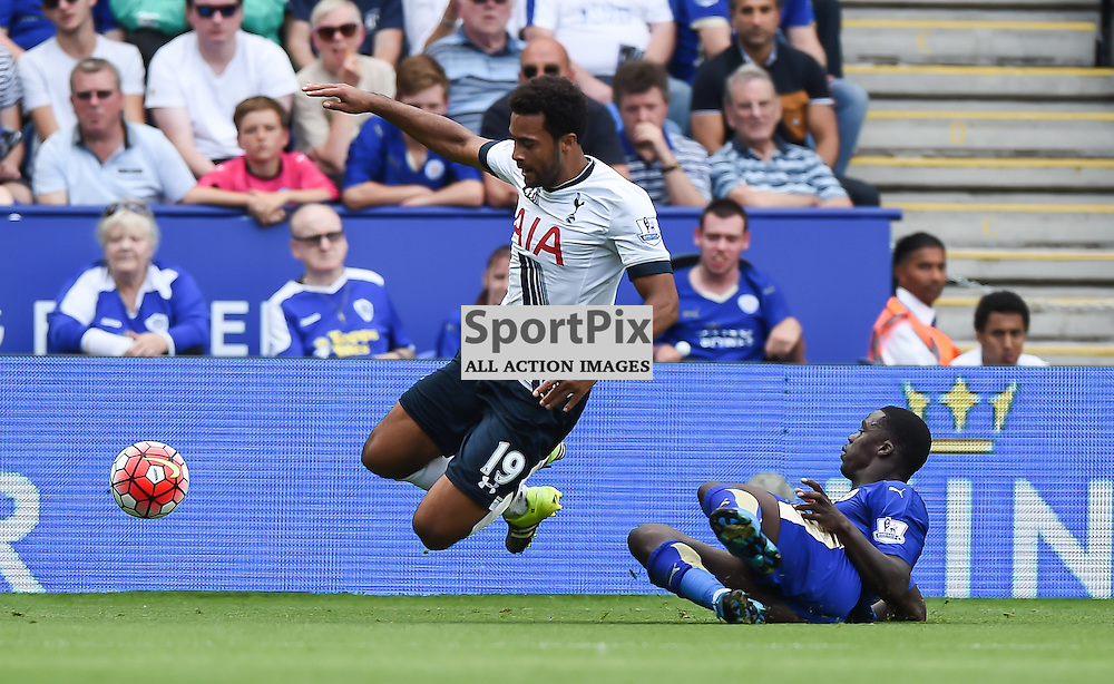 Mousa Dembele is tackled by Jeffrey Schlupp (c) Simon Kimber | SportPix.org.uk