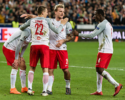 12.04.2018, Red Bull Arena, Salzburg, AUT, UEFA EL, FC Salzburg vs SS Lazio Roma, Viertelfinale, Rueckspiel, im Bild v.l. Munas Dabbur (FC Salzburg), Stefan Lainer (FC Salzburg), Fredrik Gulbrandsen (FC Salzburg), Amadou Haidara (FC Salzburg) // during the UEFA Europa League Quaterfinal, 2nd Leg Match between FC Salzburg and SS Lazio Roma at the Red Bull Arena in Salzburg, Austria on 2018/04/12. EXPA Pictures © 2018, PhotoCredit: EXPA/ Stefan Adelsberger