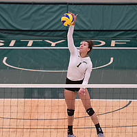 4th year outside hitter Ashlee Sandiford (1) of the Regina Cougars in action during Women's Volleyball home game on February 9 at Centre for Kinesiology, Health and Sport. Credit: Arthur Ward/Arthur Images