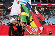 SYDNEY, AUSTRALIA - MARCH 30: Players enter the pitch amid flags representing multicultural festivities at round 23 of the Hyundai A-League Soccer between Western Sydney Wanderers FC and Melbourne City FC on March 30, 2019 at ANZ Stadium in Sydney, Australia. (Photo by Speed Media/Icon Sportswire)