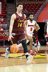 10 January 2018:  Ben Richardson leads Keyshawn Evans up the court during a College mens basketball game between the Loyola Chicago Ramblers and Illinois State Redbirds in Redbird Arena, Normal IL
