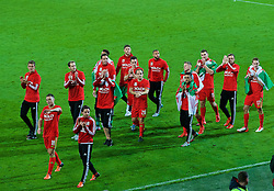 CARDIFF, WALES - Tuesday, October 13, 2015: Wales players celebrate after qualifying for the finals following a 2-0 victory over Andorra during the UEFA Euro 2016 qualifying Group B match at the Cardiff City Stadium. Wes Burns, James Chester, Tom Lawrence, Adam Henley, Emyr Huws, goalkeeper Owain Fon Williams, Joe Allen, goalkeeper Daniel Ward, David Vaughan, Ashley 'Jazz' Richards, Neil Taylor, Simon Church, Sam Vokes, Andy King, David Edwards. (Pic by Paul Currie/Propaganda)