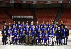 Group photo at taking pictures for IIHF Hall of Fame of Slovenian national team at Hockey IIHF WC 2008 in Halifax,  on May 04, 2008 in Metro Center, Halifax, Canada.  (Photo by Vid Ponikvar / Sportal Images)