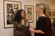 Martha Satizabal and Lucy Copes, Nicholas Garland prints and drawings, Fine Art Society. 13 May 2003. © Copyright Photograph by Dafydd Jones 66 Stockwell Park Rd. London SW9 0DA Tel 020 7733 0108 www.dafjones.com