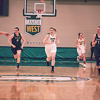 4th year forward, Alexi Rowden (10) of the Regina Cougars during the Women's Basketball Home Game on Fri Feb 01 at Centre for Kinesiology,Health and Sport. Credit: Arthur Ward/Arthur Images