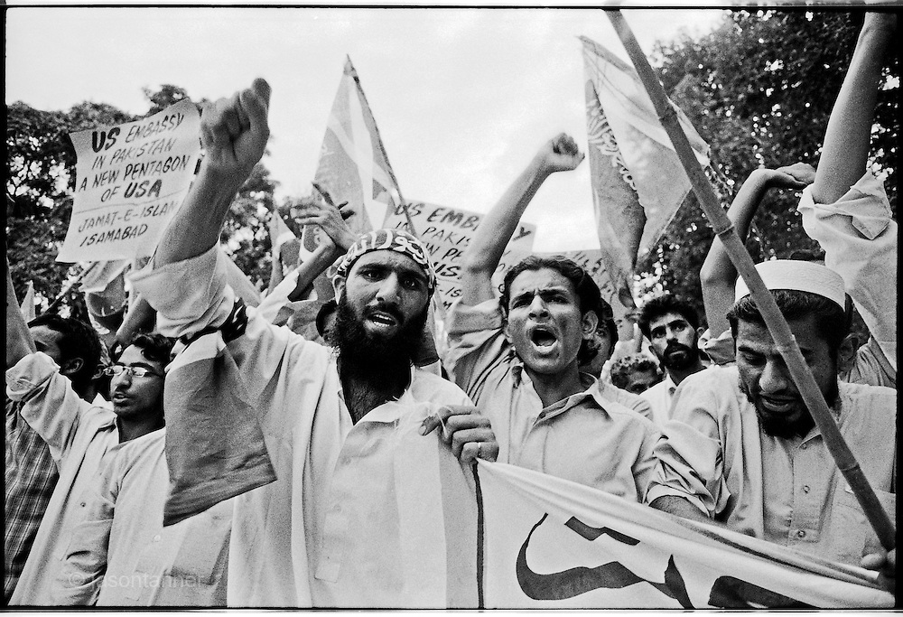 Islamabad: A demonstration organised in protest against the proposed expansion of the US embassy and deployment of up to 1000 US Marines to guard it. Approximately 4000 JI supporters marched demanding an end to US drone attacks and calling for negotiation for peace in tribal belt...Pakistani Jamaat-e-Islami party leader Syed Munawwar Hassan attended and spoke to supporters during a demonstration march towards the US embassy.