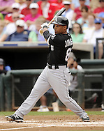 SURPRISE, AZ - MARCH 06:  Micah Johjnson #83 of the Chicago White Sox bats against the Kansas City Royals on March 6, 2014 at The Ballpark in Surprise in Surprise, Arizona. (Photo by Ron Vesely)   Subject: Micah Johnson