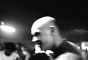 Blurry skinhead man in a club, Russia, 2003