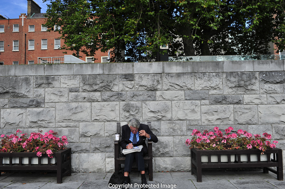 Old man in the garden of remembrance