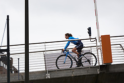 Alicia Gonzalez (ESP) crosses the footbridge to sign on at Ladies Tour of Norway 2018 Stage 2, a 127.7 km road race from Fredrikstad to Sarpsborg, Norway on August 18, 2018. Photo by Sean Robinson/velofocus.com