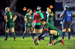 Owen Williams of Leicester Tigers lines the ball up for a kick at the posts - Photo mandatory by-line: Patrick Khachfe/JMP - Mobile: 07966 386802 07/12/2014 - SPORT - RUGBY UNION - Leicester - Welford Road - Leicester Tigers v Toulon - European Rugby Champions Cup