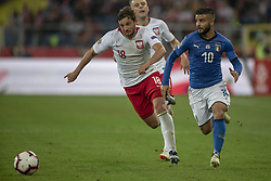 October 14, 2018 - Chorzow, Poland - Bartosz Bereszynski of Poland and Lorenzo Insigne of Italy during the UEFA Nations League A match between Poland and Italy at Silesian Stadium in Chorzow, Poland on October 14, 2018  (Credit Image: © Andrew Surma/NurPhoto via ZUMA Press)