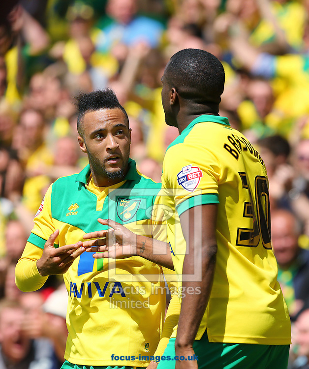 Nathan Redmond of Norwich City (left) is congratulated by team mate, Sebastien Bassong after scoring his sides second goal to make it 2-1 during the Sky Bet Championship match at Carrow Road, Norwich<br /> Picture by Richard Calver/Focus Images Ltd +44 7792 981244<br /> 16/05/2015