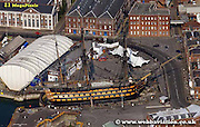 aerial photograph of HMS Victory  in  Portsmouth Dockyard  Hampshire UK