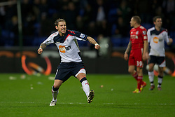 BOLTON, ENGLAND - Saturday, January 21, 2011: Bolton Wanderers' Gretar Rafn Steinsson celebrates his side's 3-1 victory over Liverpool during the Premiership match at the Reebok Stadium. (Pic by David Rawcliffe/Propaganda)